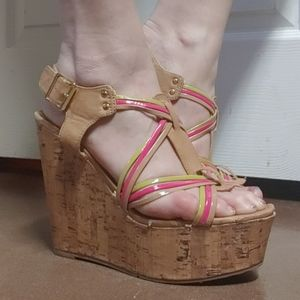 Candies Cork Sandal Wedges Heels 8.5